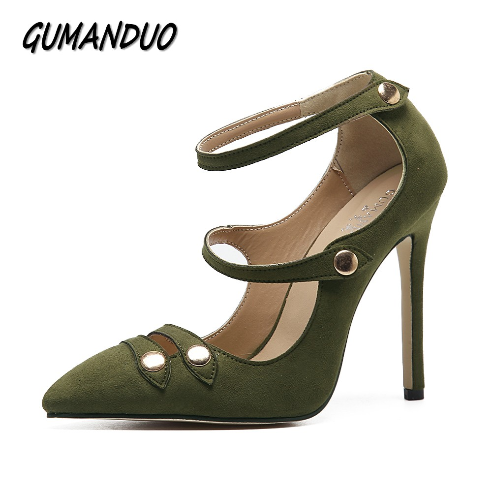 GUMANDUO New women pumps pointed toe high heels shoes woman party wedding dress ladies sexy strapped stiletto shoes size 35-40 sexy pointed toe high heels women pumps shoes new spring brand design ladies wedding shoes summer dress pumps size 35 42 302 1pa