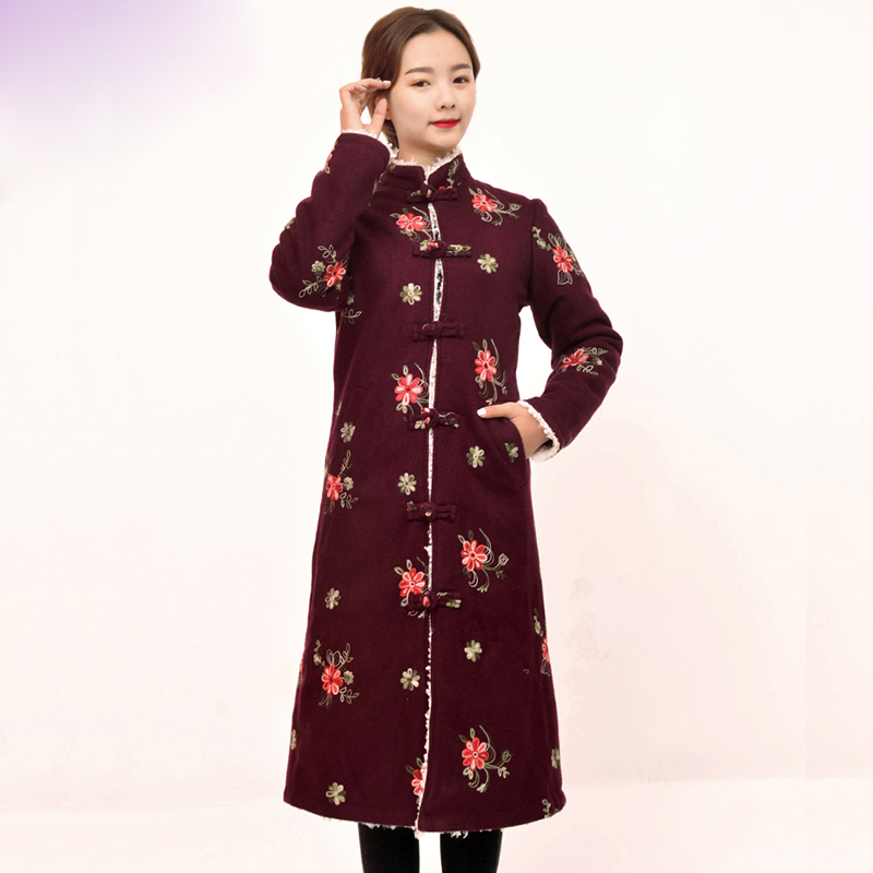 Winter Tibet Trench Coat Embroidered Tibetan Long Gown Ethnic Style Improvement Woolen Overcoat Retro-Chinese Folk Wind Coat