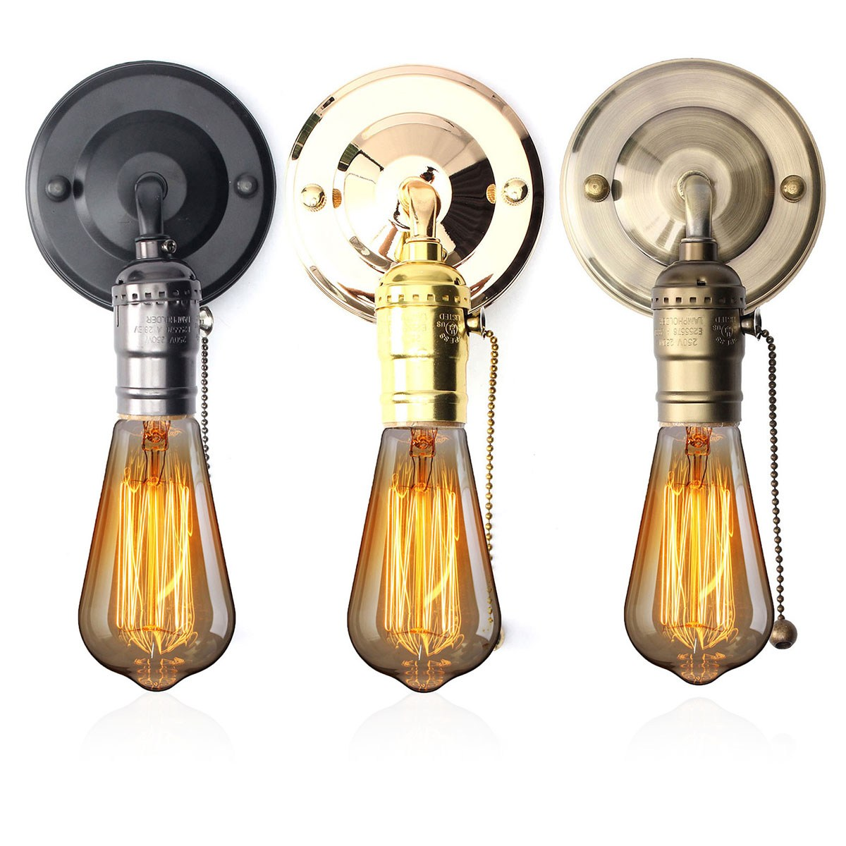 3 Style Vintage Copper Iron Wall Light Sconce Holder Colorful Lamp Fixture  Pull Cord Switch Hallway