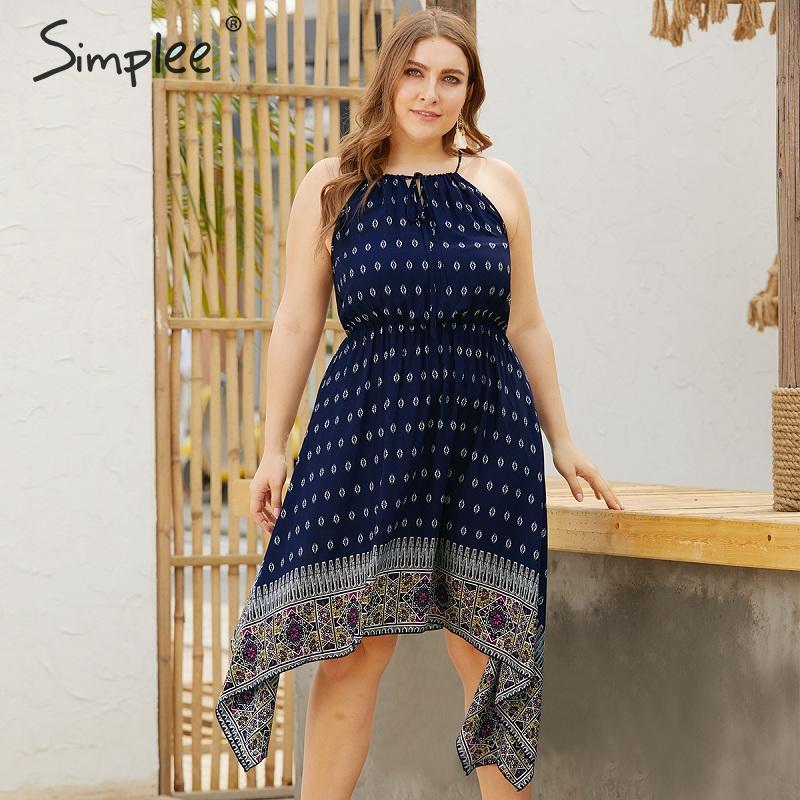 Simplee винтажное богемное женское платье большого размера, сексуальное летнее платье на бретельках с принтом, Пляжное Стильное женское плать...