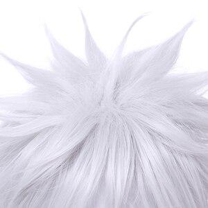 Image 4 - L email 가발 새로운 gintama gintoki 사카타 코스프레 가발 35 cm/13.8 인치 짧은 흰색 남성 합성 머리 페루 카 코스프레 가발