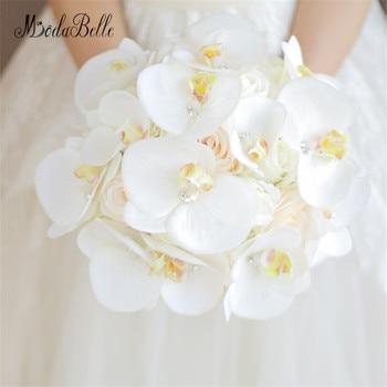modabelle Bouquet De Mariage Crystal White Phalaenopsis Bridal Flowers Brooch Bouquet For Brides Artificial Wedding Bouquets