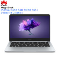 HUAWEI Honor MagicBook Laptops 14 Inch Windows 10 Pro I7 8550U Quad Core 1.8GHz 8GB RAM 512GB SSD Dedicated Graphics Notebook