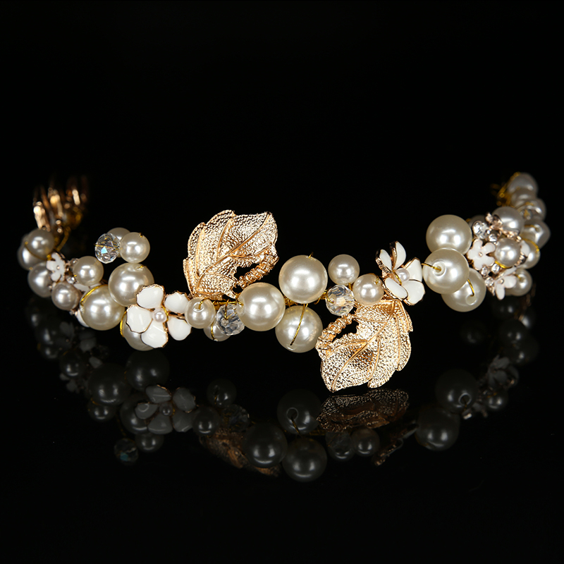 Pearl Crystal Hair Band Wedding Headdress Retro Bridal Jewelry Gold And Silver Alloy Crown Painted Flowers