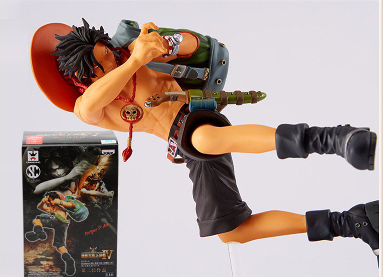 Tobyfancy One Piece Figure Ace PVC 150mm Fire Devil Fruit Anime Figurines SC Onepiece Ace Anime Model Toys