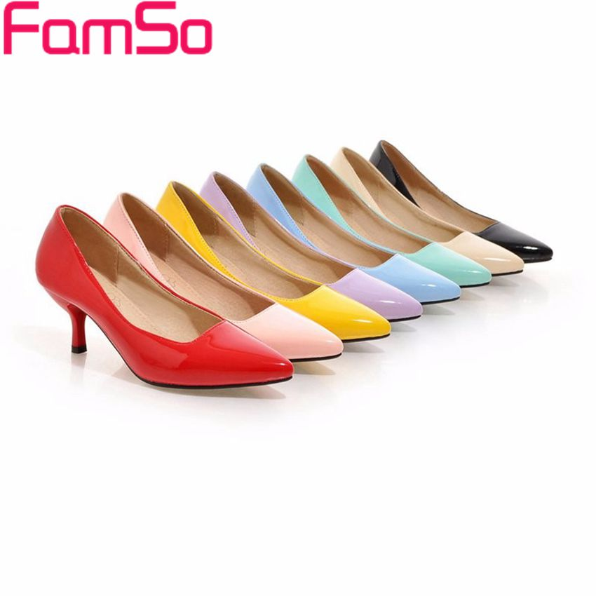 famso size34 45 2016 women pumps 8colors pointed toe low shoe high heels wedding shoes