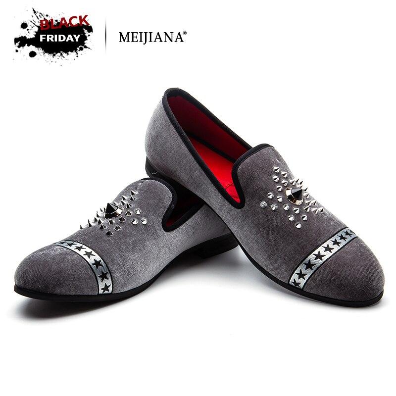 MEIJIANA Новая мода брендовые Лоферы для мужчин вельветовые модельные туфли Горячая бурения ручной работы роскошные туфли без каблуков