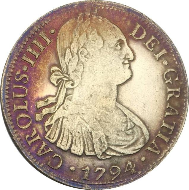 Mexiko 8 Reales Carlos Iv 1794 Mo Fm überzogene Silber Kopie Münzen