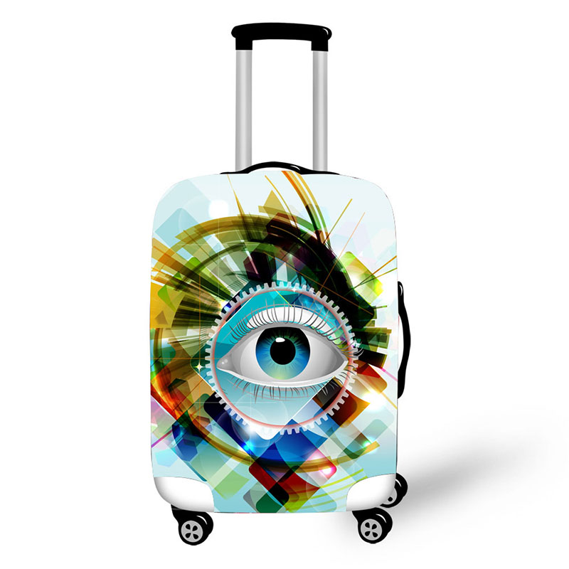 Case For Suitcases Cover Cartoon Eyes Case Suitcase Luggage Protective Covers Travel Accessories 3D Colorful Zipper 18-30 Inch