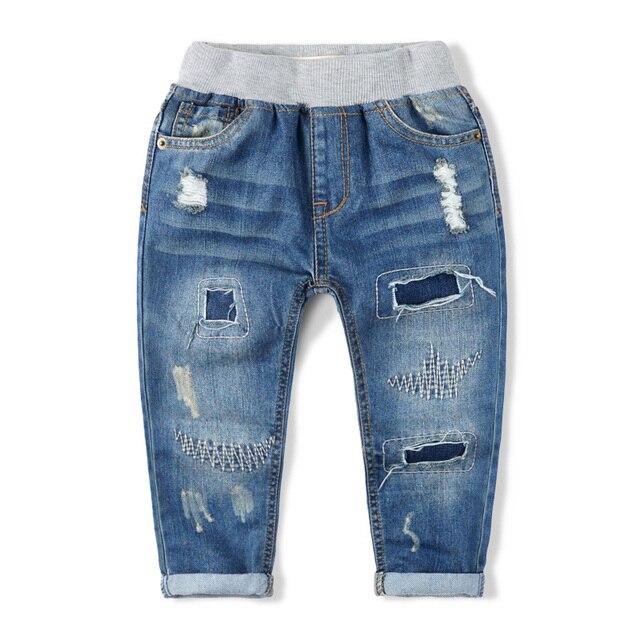 Бесплатная доставка новое прибытие весна джинсовые брюки мальчика детская одежда 100% хлопок отдыха рваные джинсы мальчик брюки