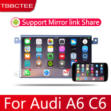 Android 2 Din Car radio Multimedia Video Player auto Stereo GPS MAP For Audi A6  A6L C6 2007~2011 Media Navi Navigation недорого