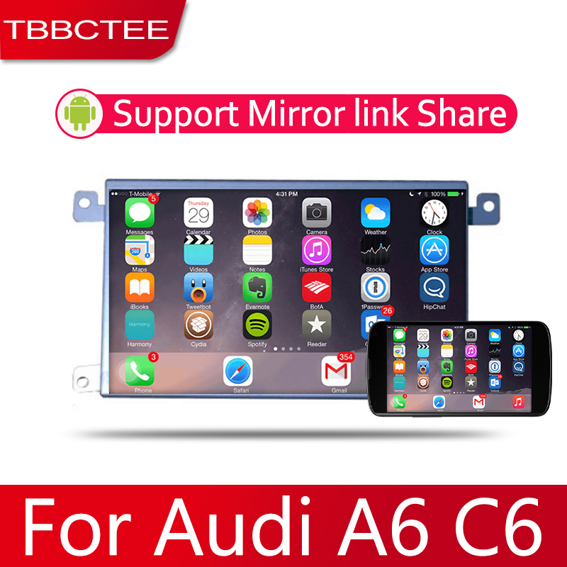 Android 2 Din Car radio Multimedia Video Player auto Stereo GPS MAP For Audi A6 A6L C6 2007~2011 Media Navi Navigation