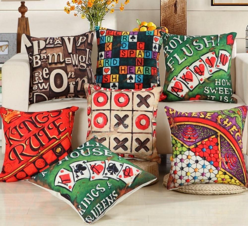 Vintage Play Card Game Letter High Quality Cotton Linen Decorative Cushion Cover Pillow Case Car Seat 45x45cm Pillowcase B390