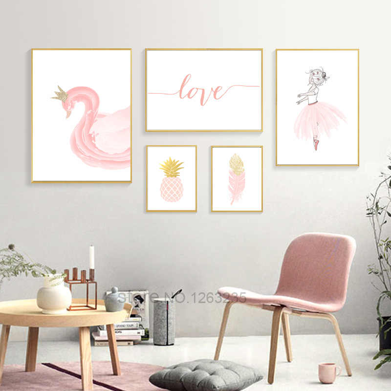 Pink Goose Baby Girl Room Decor Cuadros Decoration Salon Feather Wall Art Canvas Painting Nordic Poster Princess Love Unframed