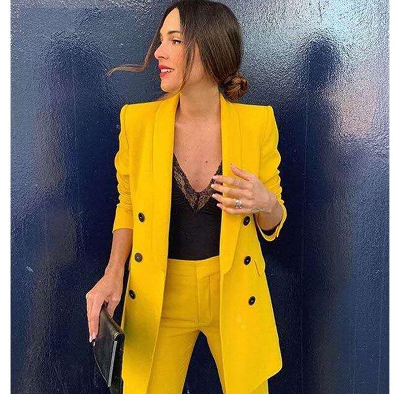 2019 New Woman Boyfriend Yellow Color Double-Buttons Blazer Vintage Notched Collar Loose Long Suit Jacket Coat Outerwear 1 Set