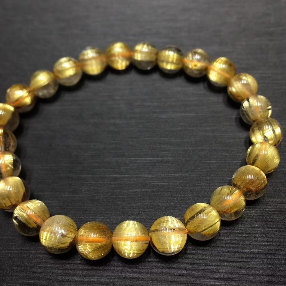 Certificate Natural Gold Rutilated Quartz Titanium Crystal Woman Man Bracelet Gemstone Round Beads 8 8mm Wealthy Stone AAAAA in Bracelets Bangles from Jewelry Accessories