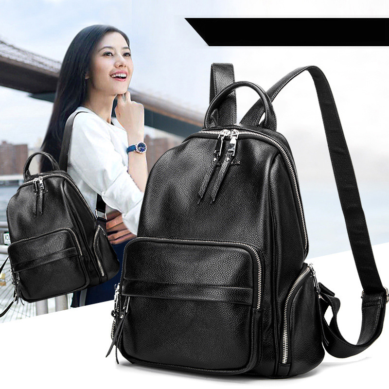 Brand Style Leather School Backpack Bag For College Simple Design women Casual Daypacks Fashion Vintage