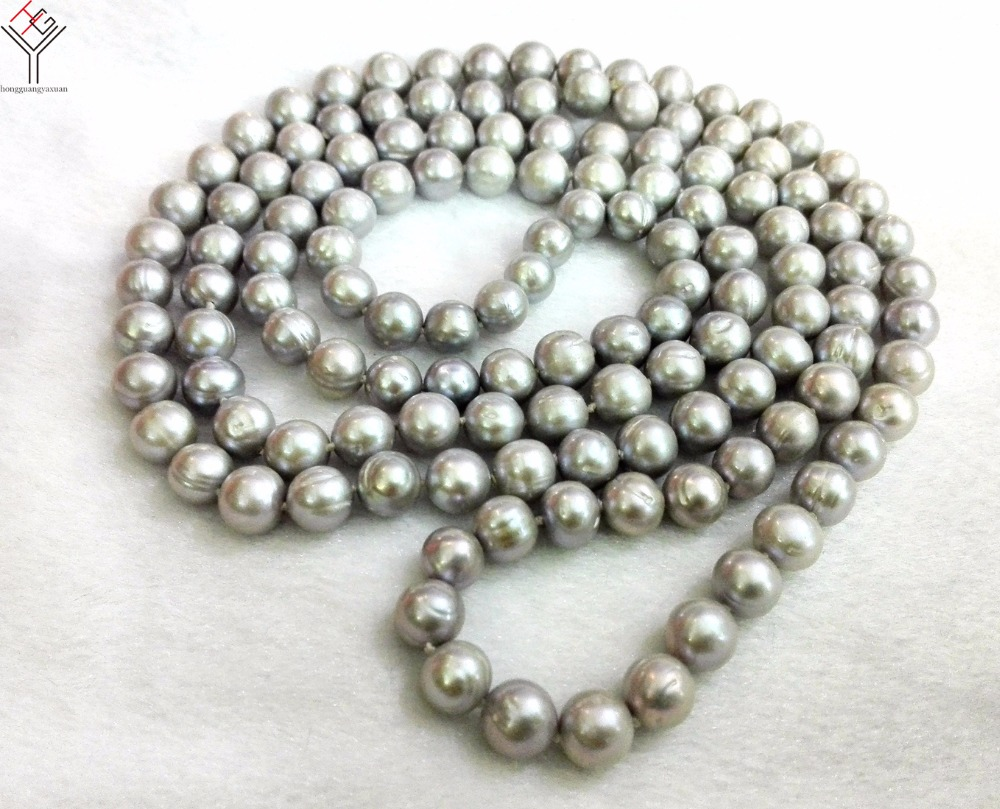 Women Jewelry 8x9mm gray pearl 120cm 47 necklace baroque line pearl handmade real natural freshwater pearl giftWomen Jewelry 8x9mm gray pearl 120cm 47 necklace baroque line pearl handmade real natural freshwater pearl gift