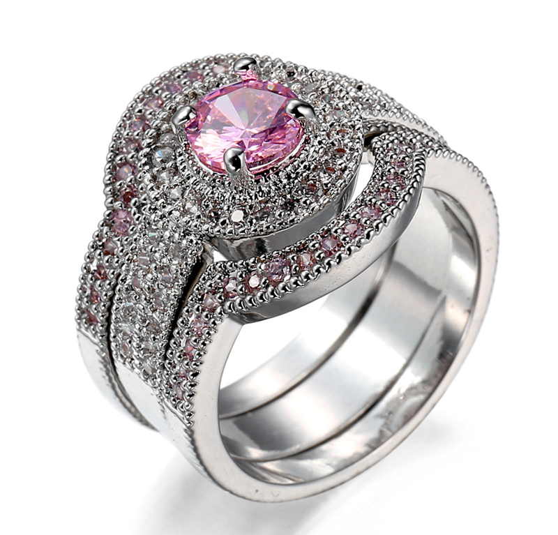 Brand Desgin Hot Sale Luxury Jewelry 10kt White old Filled f Pink Blue stone Band Engagement Ring Set ift 3pcs/set