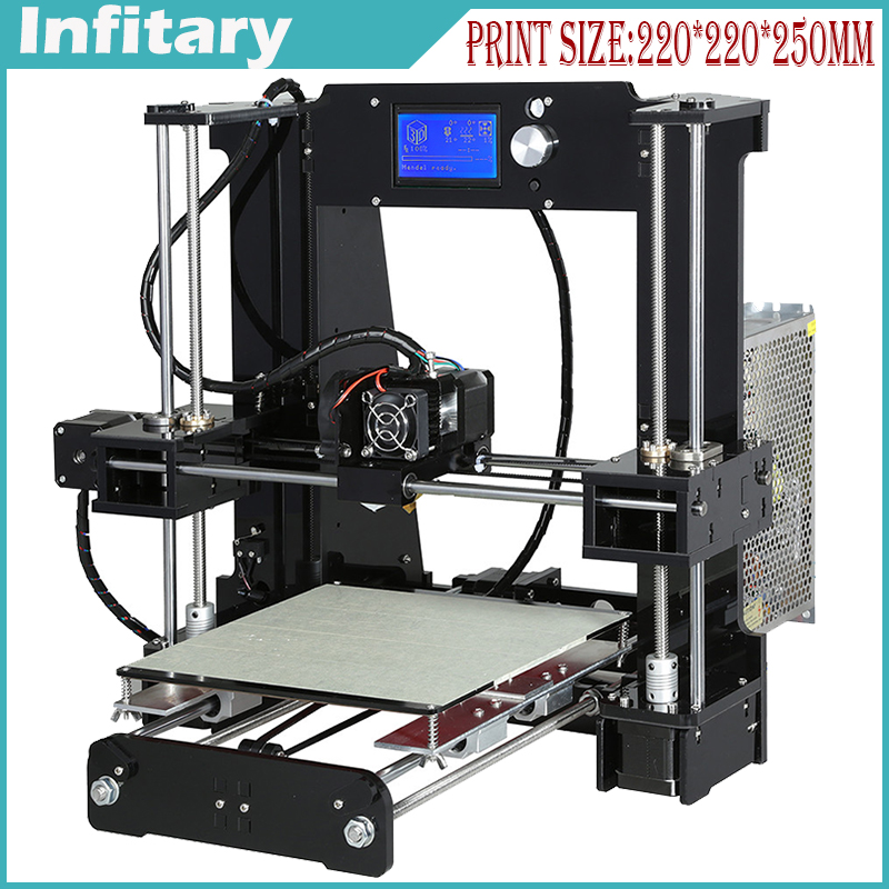 Big size 220*220*240mm High Quality Precision Reprap Prusa i3 3d Printer DIY kit with 1 roll  Filament 8GB SD card and LCD& A6