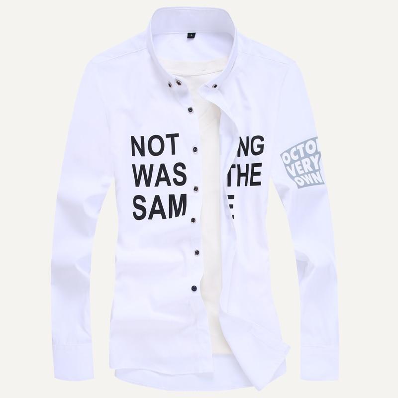 Men long-sleeve shirt Korean style 2019 spring and autumn teenage boy fashion shirt male slim print letter blue black white 1
