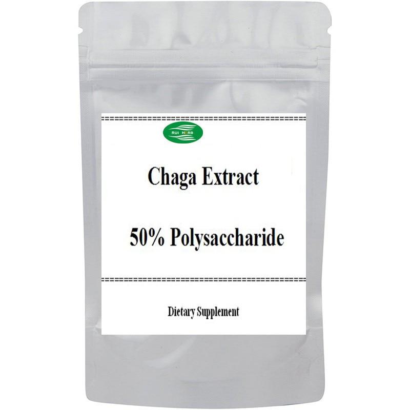 Chaga Extract 50% Polysaccharide Powder free shipping free shipping pure nature raspberry extract raspberry ketones powder 500mg x 100caps