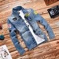 2016 новых людей куртки новое уменьшают подходящую старинные джинсовой патч проектирует джинсы мужчин пальто Jaqueta Masculina Большой размер 4XL