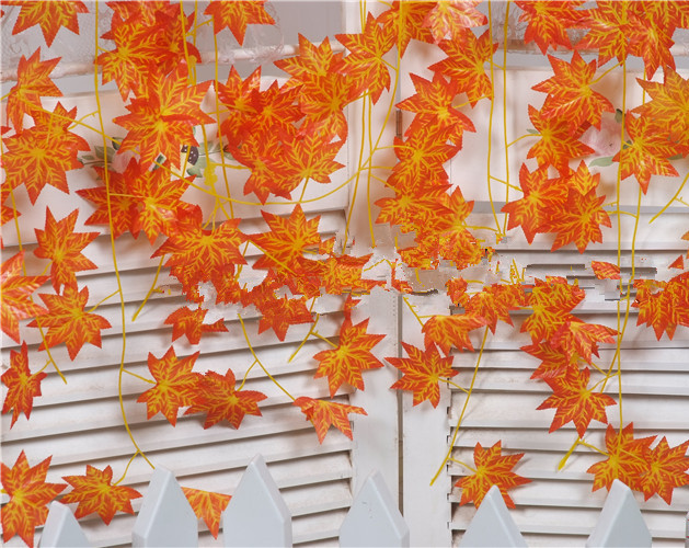 Artificial Vine Red Autumn Maple Leaf Fake Garland Plants Foliage Garden For Wedding Party Home