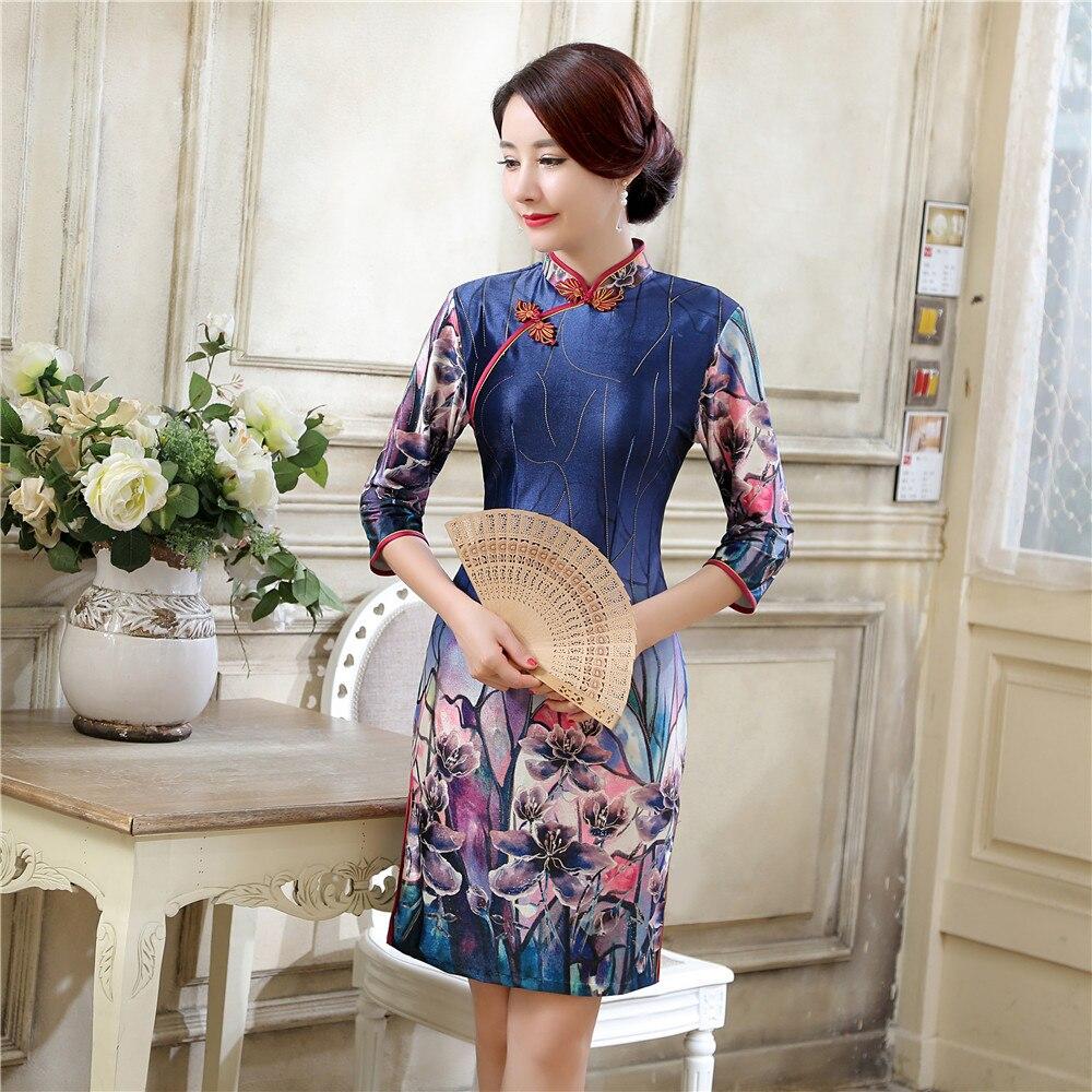 Marine Bleu Chinois Femmes de Satin Qipao Nouveau Style Short Mini  Cheongsam Fleur d\u0027été