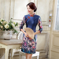 Navy Blue Chinese Women S Satin Qipao New Style Short Mini Cheongsam Summer Casual Flower Dress