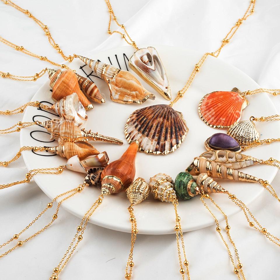 Collares colgantes de concha de mar de concha Natural Bohemia para mujer moda 2019 accesorios de joyería de playa de verano