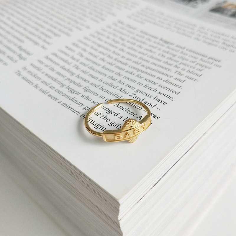 2019 новый 925 стерлингового серебра кольца с ажурным орнаментом для малышей с принтом в виде букв, с Луны и звезд щит Простой Дизайн Кольца Wild для женская мода, ювелирное изделие, подарок