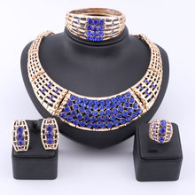 African Beads Jewelry Set Dubai Gold Color Luxury Rhinestone Women Wedding Party Necklace Bangle Earring Ring Fine Jewelry Sets