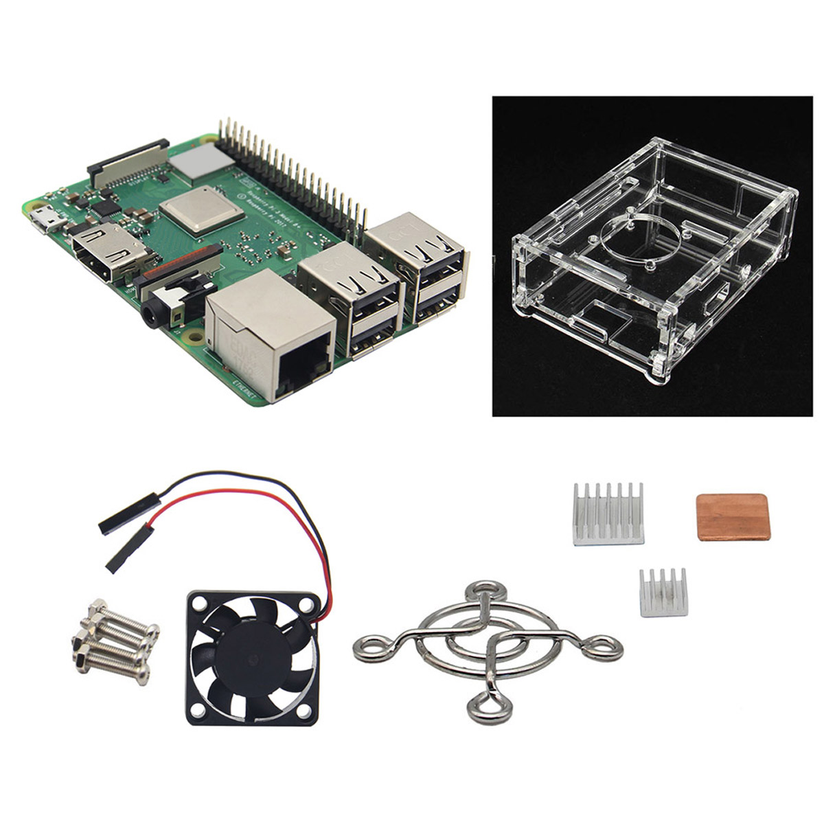 4 in 1 kit for Raspberry Pi 3 Model B+plus Board 1GB LPDDR2 BCM2837B0 Ras PI3 B,PI 3B with Bluetooth 5V2.5A 5V3A raspberry pi 3 model b starter kit pi 3 board pi 3 case eu power plug with logo heatsinks pi3 b pi 3b with wifi bluetooth