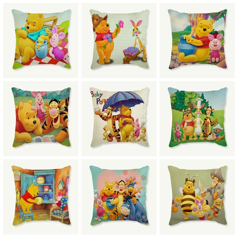 Tiger,Bear, pig, bee, animal cartoon picture Decorative Cushion Cover Seat Sofa Chair Car Home Decor Throw Pillowcase 45x45 cm