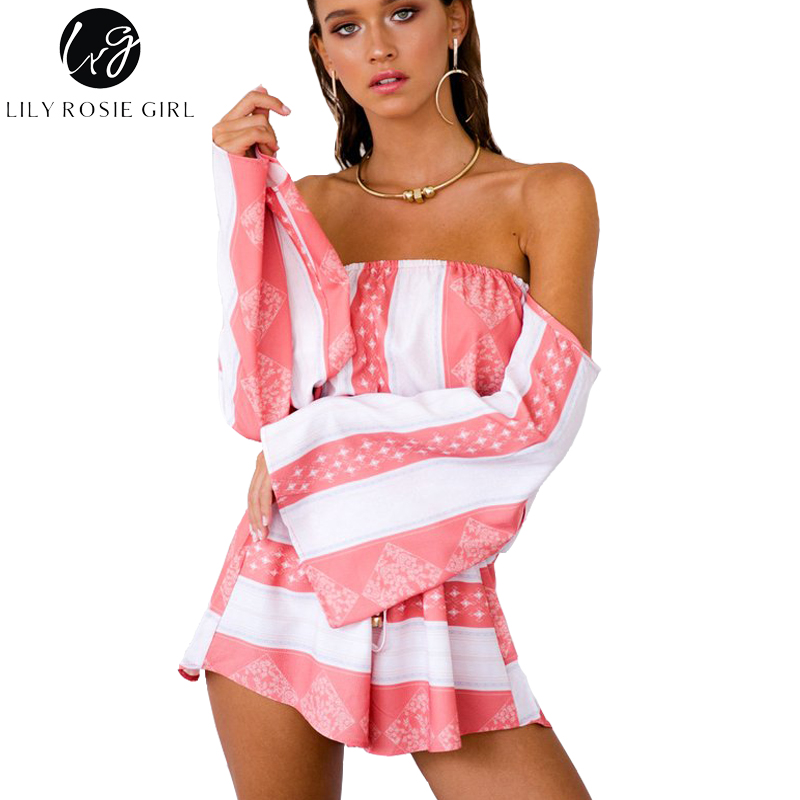 Lily Rosie Girl Sexy Off Shoulder Flare Sleeve Striped Playsuits Women Pink Backless Summer Beach Party Loose Jumpsuits Rompers