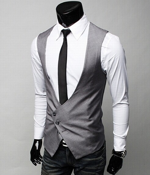 2014 New Arrival! Men formal Vest Slim Vests Men's Fitness Leisure Waistcoat Casual Business Jacket Tops Three Buttons SC652