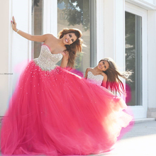 Satsweety Sparkly Crystal Beaded Prom Dresses Ball Gowns