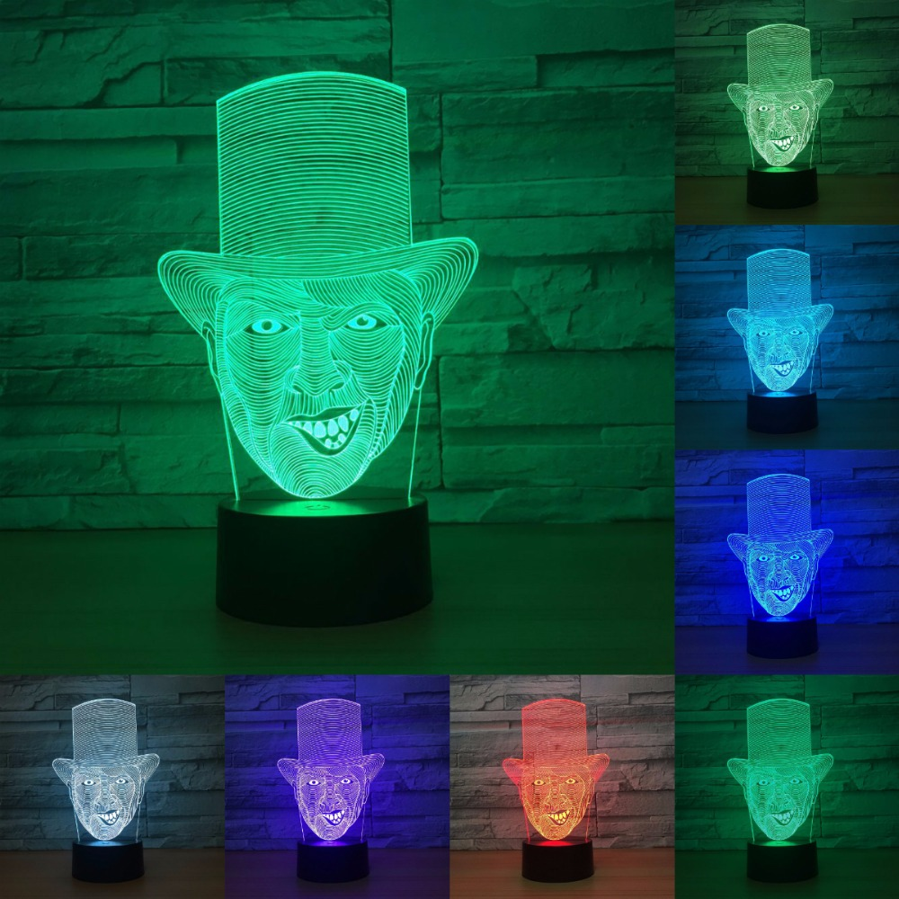 3D Illusion The Clown Table Lamp Handmade Wooden LED Light With Color Changing LED Light Home Decor IY803306