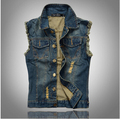 New Arrival 2016 Men's Denim Vest Brand Jeans Vest Men Cowboy Vest Denim Sleeveless Jacket Plus Size Free Shipping