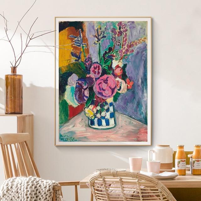 Matisse Vintage pivoines | Toile de fleur à lhuile, cadre en bois bricolage, peintures de maître affiches imprimés, décoration murale, Art, photos de cuisine, pour la maison
