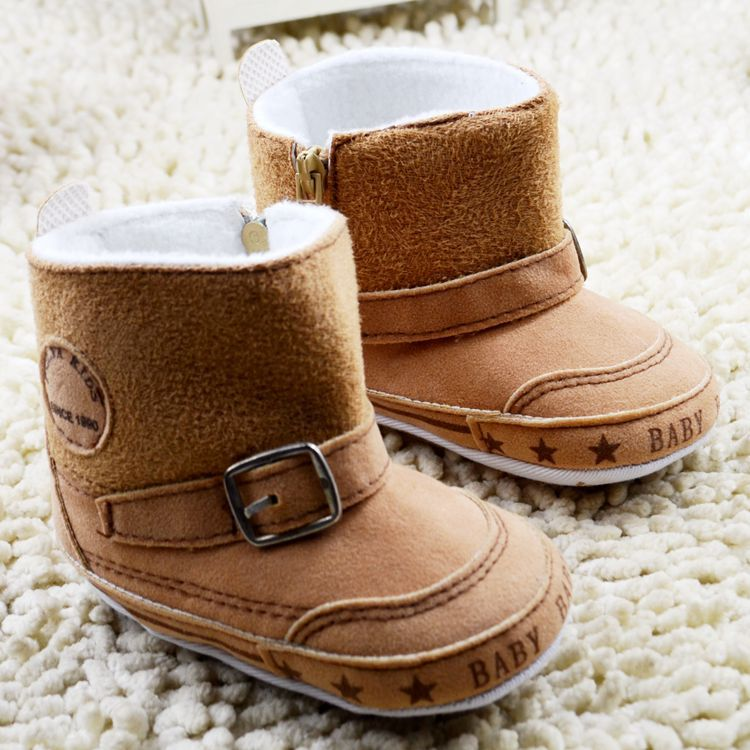 54d7f3ecb454 Crib Infant Baby Winter Boots Side Zip Suede Soft Baby Boys Girls ...