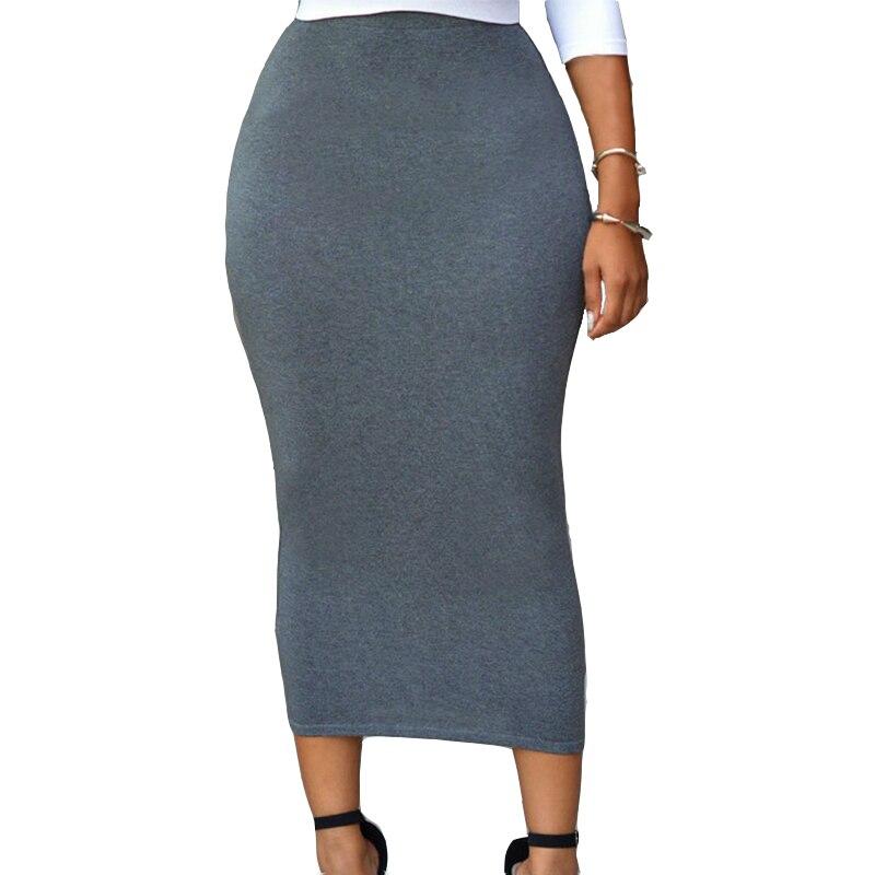 Pevný dlouhý bavlněný vysoký pas Maxi sukně ženy ležérní tenký pružný přiléhavý tužka elastická bavlněná sukně Saias Femininas H71188
