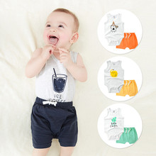 2019 Mother & Baby summer clothes baby boys clothing shorts two-piece set  Hallen Trousers and  Vest  cotton newborn clothes newborn spring and autumn wadded jacket set male cotton padded jacket vest piece set baby clothes