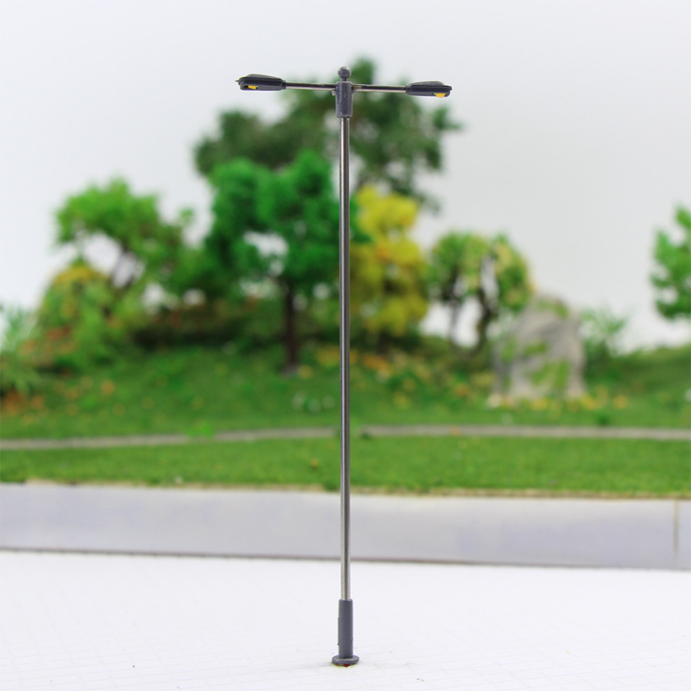 Image 2 - LQS12 10pcs Model Railway Train Lamp Post Two head Street Lights HO OO Scale LEDs NEW Miniature Layout White/WarmWhiteModel Building Kits   -