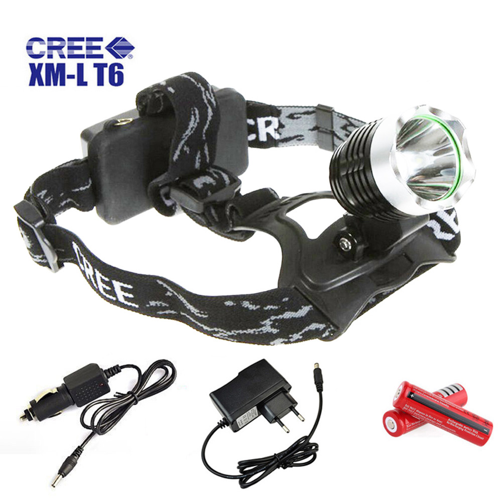 Waterproof LED Headlight 1200 Lumens CREE XM-L T6 Rechargeable Lantern Headlamp 3-mode Flashlight With 18650 <font><b>Battery</b></font> and Charger