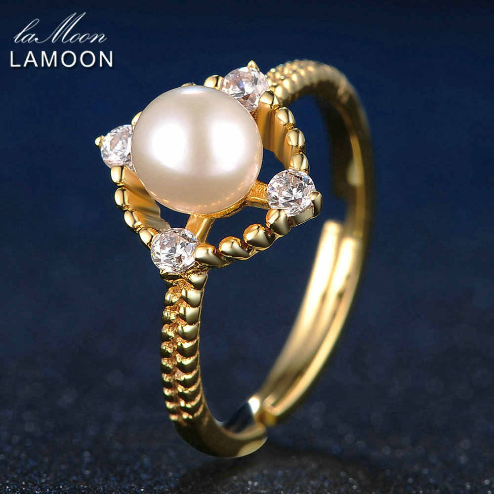LAMOON 8mm 100% Natural Freshwater Pearl Jewelry 925 Sterling Silver Jewelry  Pendant Jewelry Set V036-3