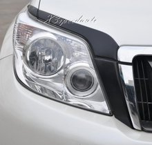 Chromed Head Light Eyelid Cover Trim For Toyota FJ150 Prado Land Cruiser 2010-2013