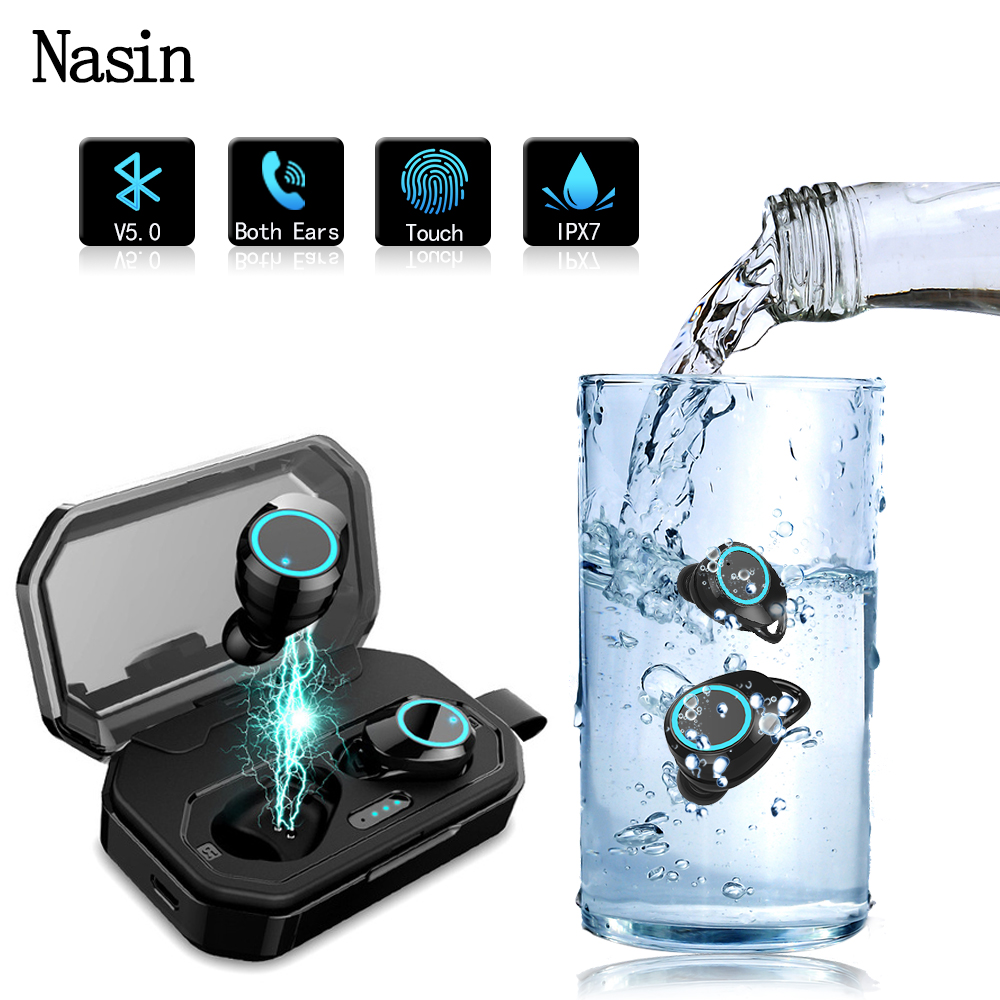 Nasin x6 True Wireless Bluetooth Earphone 5 0 Touch Control Headset IPX7 Waterproof Outdoor with 3000