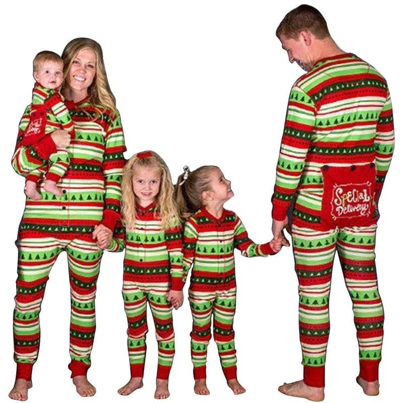 Christmas Striped Family Matching Pajamas Xmas Sleepwear Nightwear Christmas Tree Pattern Long Sleeve Pyjamas Set Family Look цена